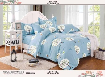 StevenShop 4in1 Bedsheet US COTTON ELEGANT Light Blue with Whitetree Design(2 pcs pillow case , 1pcs fitted and 1pcsbedsheet)-Single