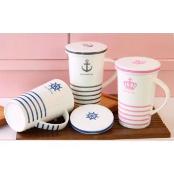 Stripes Feelings Mug with Cover Milk Cup Porcelain Coffee Mug withLid Cover 400ml - 5