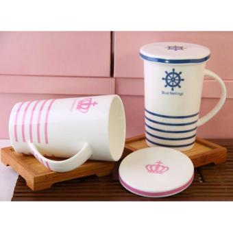 Stripes Feelings Mug with Cover Milk Cup Porcelain Coffee Mug withLid Cover 400ml - 3