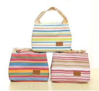 Stripes Lunch Bag Thick Insulated Lunch Bag Five-color Big StorageBags for Travel Outdoors Camping Office and So On - intl Price Philippines