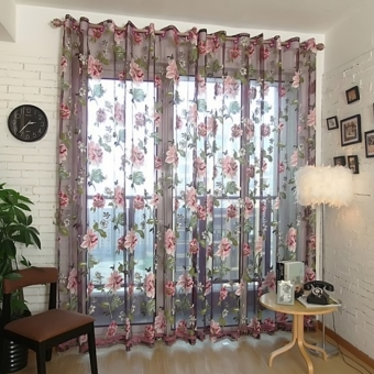 Stylish Floral Tulle Voile Sheer Curtain Panel for Wall Door Window Home Decor Drapery Valance 1m x 2m