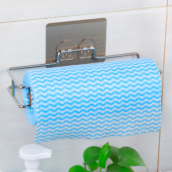 Suction punched paper towel rack
