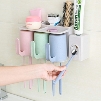 Suction wall-toothpaste box brushing cup toothbrush holder