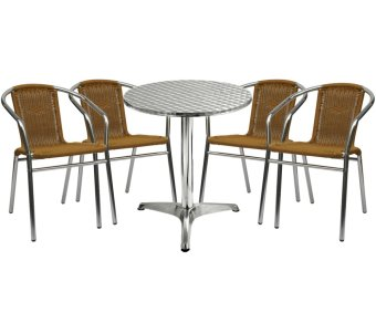 Sumo AT-60R DLX/AWC-101BEI Round Pantry Table and Wicker Chair Setof 5 (Silver/Beige)