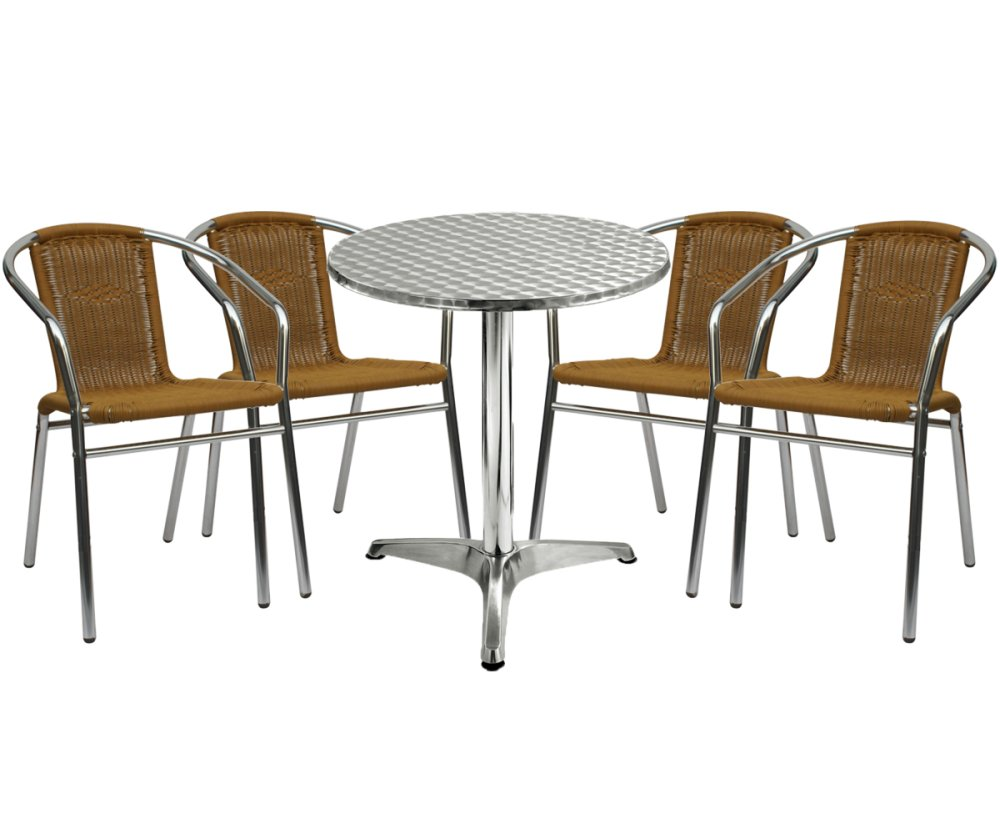 Sumo AT 60R DLX/AWC 101BEI Round Pantry Table And Wicker Chair Set Of 5  (Silver/Beige) | Lazada PH