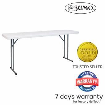 SUMO ST-1872S1 Solid Top Rectangular Folding Training Table with Foldable Steel Legs (White)