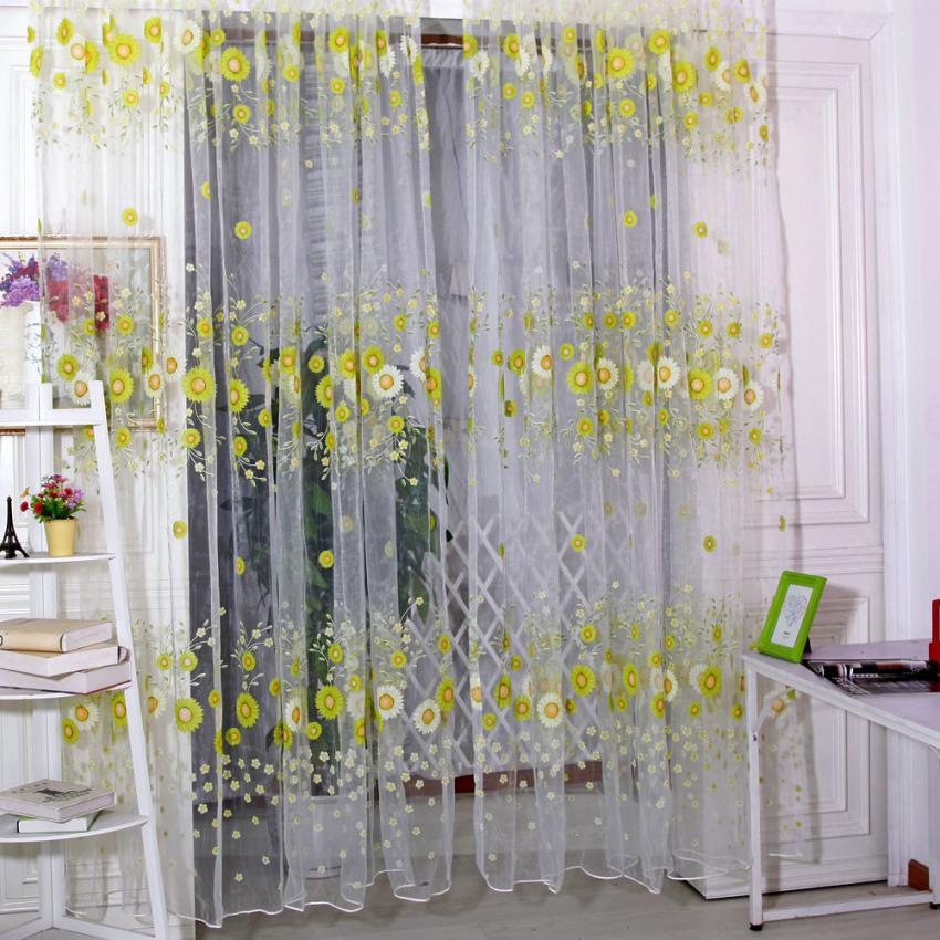 sunflower voile door window screening curtains green