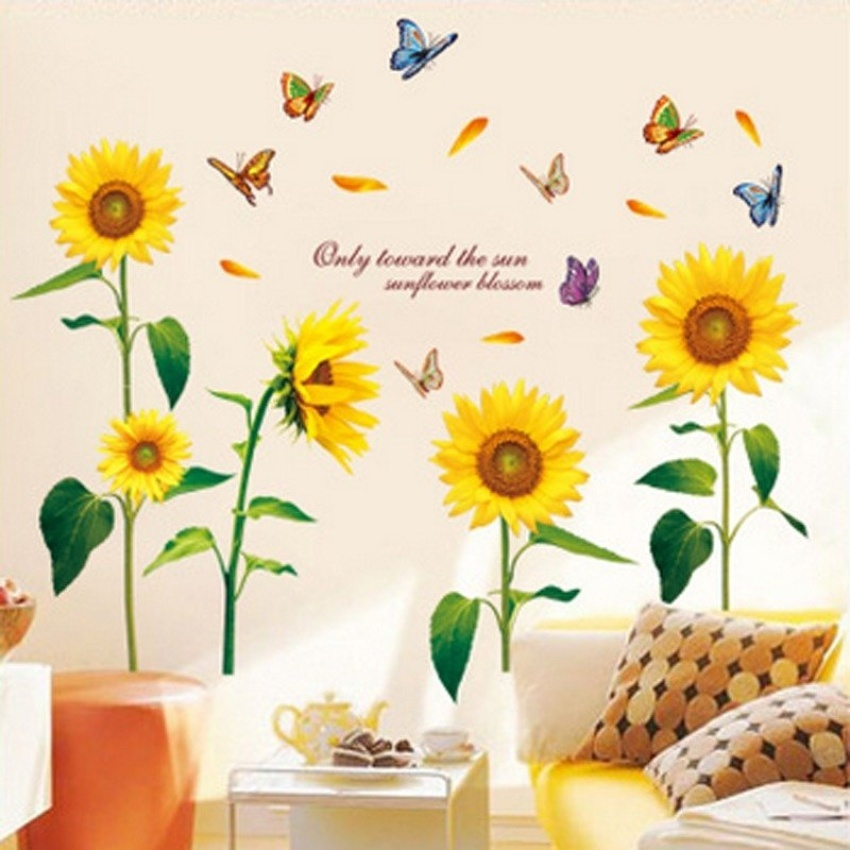 Philippines | Sunflowers Butterflies English Letters Wall Decal PVC ...