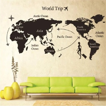 Sunyoo- DIY Colorful Travel the World Map Removable Vinyl WallStickers Room Art Decal - intl