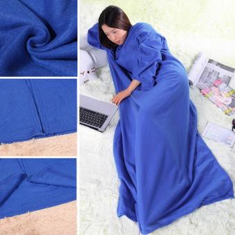 Supper Home Winter Warm Fleece Snuggie Blanket Robe Cloak (Blue) (Intl) - 3