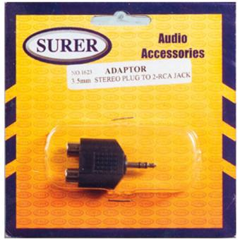 Surer 1623 Adaptor 3.5mm Stereo Plug to 2-RCA Jack
