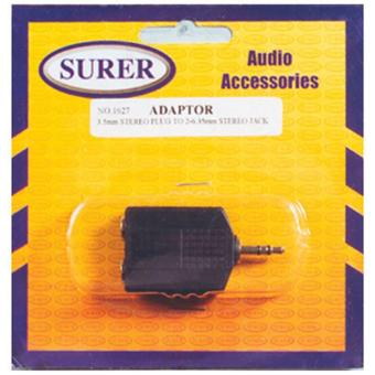 Surer 1627 Adaptor 3.5mm Stereo Plug to 2-6.35mm Mono Jack