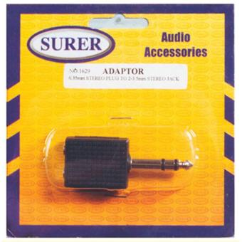 Surer 1629 Adaptor 6.35mm Stereo Plug to 2-3.5mm Stereo Jack