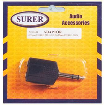 Surer 1634 Adaptor 6.35mm Stereo Plug to 2- 6.35mm Stereo Jack