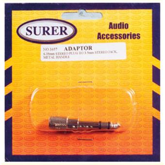 Surer 1657 Adaptor 6.35mm Stereo Plug to 3.5mm Stereo Jack, MetalHandle