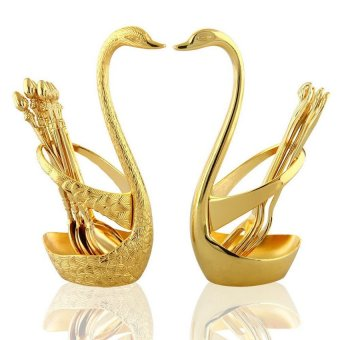 Swan Holder Stand Rack Rests for Coffee Spoon and Fruit Fork (Gold)