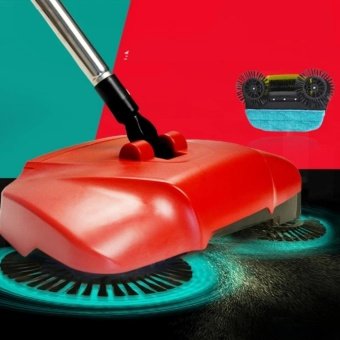 Swivel Cordless Sweep Drag Sweeping All-in-one Broom Hand Push SpinBroom (Red)