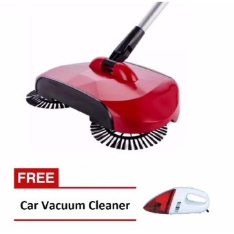 Swivel Cordless Sweep Drag Sweeping All-in-one Broom Hand Push SpinBroom (Red) with FREE Portable Car Vacuum Cleaner (Red)
