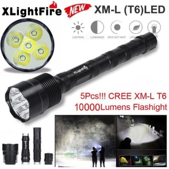 Tactical 10000 Lumen 5 x XML T6 LED Flashlight Torch Light 5 Modes18650 Hunting Black - intl Price Philippines