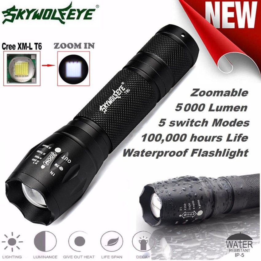Tactical LED Flashlight G700 SkyWolfeye X800 Zoom Super Bright Military Grade - intl