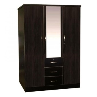 Tailee Furniture #1254W Multi-Functional Wardrobe/Cabinet with 3Door and 3 Drawers and Center Mirror (Matte Wenge)