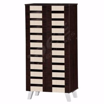 Tailee Furniture #2533 5-Layer Multi-purpose Wooden Shoe Rack (Wenge w/ Dark Sonoma Oak)