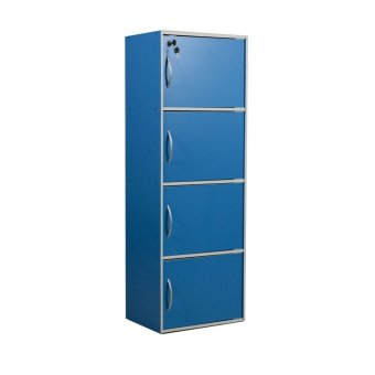 Tailee Furniture ST-400BDF 4-Layer Utility Cabinet Organizer w/Door and Lock (Blue)