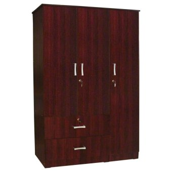 Tailee Furniture WD-320 Multi-functional Wardrobe / Cabinet with 3 Doors and 2 Drawers w/ lock(Mahogay)