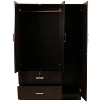 Tailee Furniture WD-320 Multi-functional Wardrobe / Cabinet with 3 Doors and 2 Drawers w/ lock(Wenge)