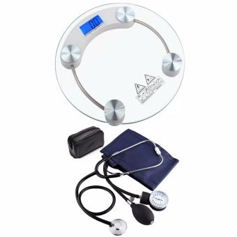Tempered Glass Digital Weighing Scale with Aneroid SphygmomanometerBlood Pressure
