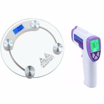 Tempered Glass Digital Weighing Scale with Infrared Thermometer Purple