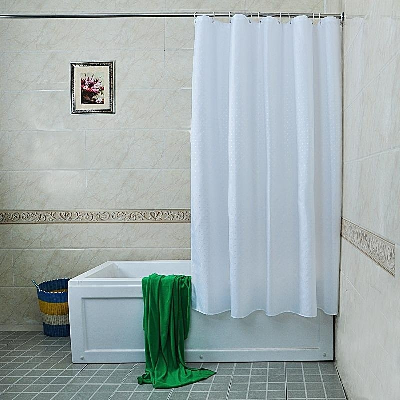Than Pure White Floral Polyester Cloth Shower Curtain Mold Waterproof Bathroom Bag Tied