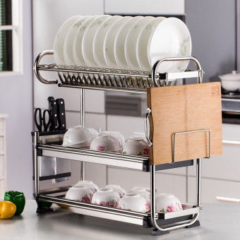 Three layer stainless steel dish rack