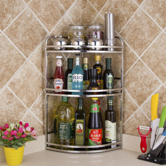 Three layer stainless steel kitchen shelf