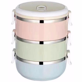 Three Layers Stainless Steel School Bento Lunch Box Lunchbox FoodStorage Container