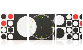 Three Piece Poster Clock Squares and Circles
