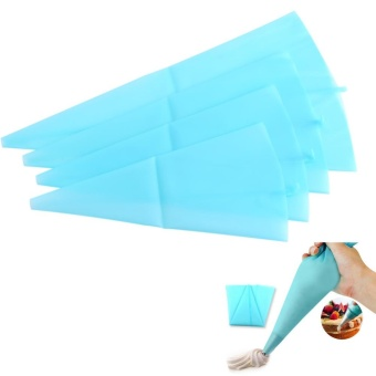 TMISHION 4 Sizes Reusable Silicone Icing Bag Pastry Dessert CreamPiping Bags Cake Decoration Tools - intl