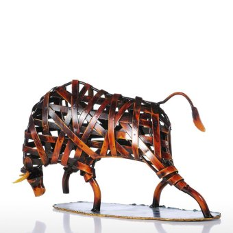 Tooarts Metal Weaving Cattle Red Iron Sculpture Abstract FigurineModern Art Home Decor Animal Craft Gift - intl