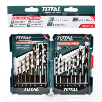 Total 16 Pieces Drill Bits Set Heavy Duty (Blue Green)