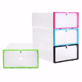 Transparent Drawer Case Plastic Shoe Box Storage- Asst. Colors (SETOF 4)
