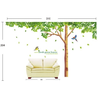 Tree Wall Stickers 310x204cm Extra Large Home Decoration LivingRoom Background TV Sofa Fresh Green Leaves Tree Wall Decal Vinyl - 4