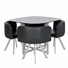 Trendsetter Compact Dining Or Office Table With 4 Chair Set Black
