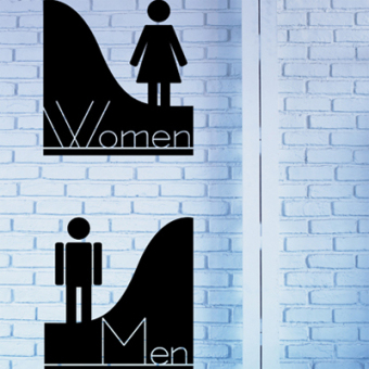 Tuan mall toilet for men and women hand-washing room sticker logo