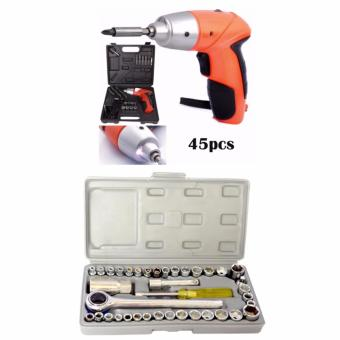 TUOYE Cordless Rechargeable Handy Drill Screwdriver 45pcs Set withAiwa Best Quality 40 Pcs Auto Repair Hand Tool Combination SocketWrench Set