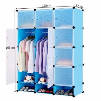 Tupper Cabinet 12 Cubes Doors DIY Storage Cabinet with Bottom Shoe Rack (Blue) Price Philippines