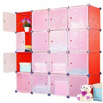 Tupper Cabinet 16 Cubes White Doors Red DIY Storage Cabinet (Red ...