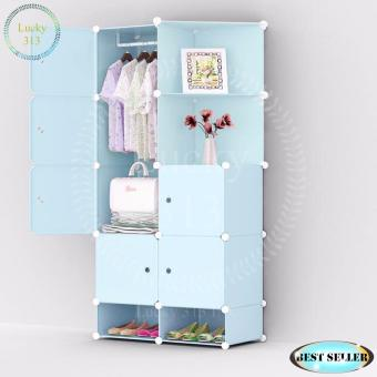 Tupper Cabinet XJ-808 8 cubes Blue Doors Blue DIY Storage Cabinetwith Shoe Rack (Blue) Price Philippines