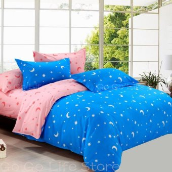 Two-tone Star&Moon Quilt Cover Full/Queen/King Size-31-2# Blue- intl
