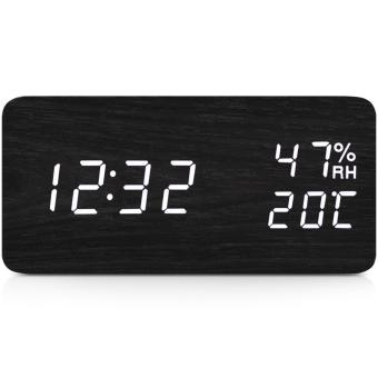 TXL Wooden Digital Alarm Clock Displaying Temperature&Humidity (Black, White LED) - intl