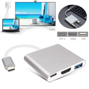 Type C USB 3.1 to USB-C 4K HDMI USB3.0 Charging Port Adapter 3 in 1 Hub For Apple Macbook - intl